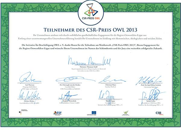 CSR Preis 2013