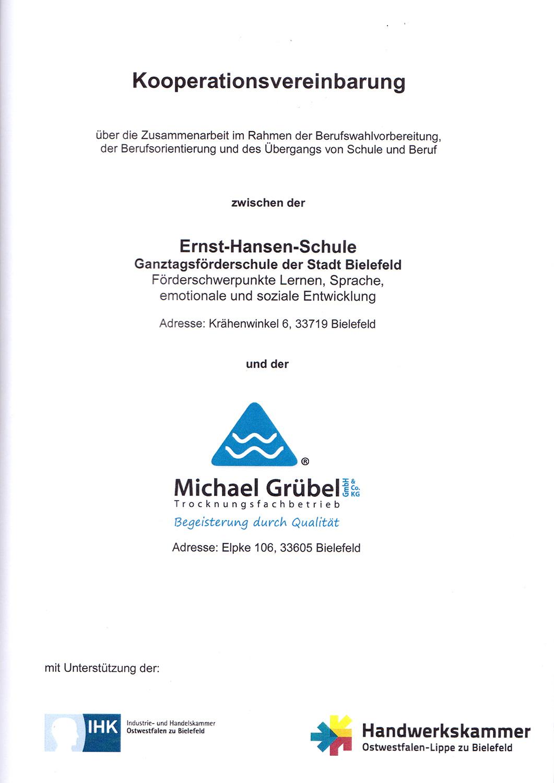 Kooperationsvereinbarung Ernst Hansen Schule
